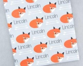 Personalized Baby Blanket Fox // Baby Blanket with Name Newborn Blanket Personalize Baby Blanket Personalized Swaddle Blanket- Fox