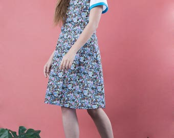 Floral dress, floral dress vintage, 90s floral dress, blue sundress,  summer dress, blue floral dress, romantic dresses, straps dress