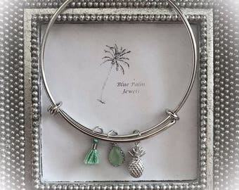 Handmade Silver Pineapple Charm Bangle