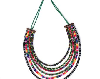 African necklace - Ethnic jewellery - Tribal jewellery -  African Multistrand - Fabric necklace - Textile jewellery - Hippie jewellery