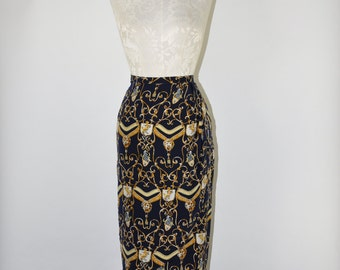 90s silk pencil skirt / 1990s baroque print skirt / high waist wrap skirt