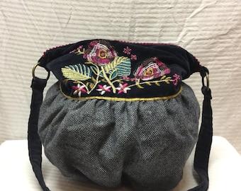 Hobo Bag, Embroidered Purse, Blue, Tweed, Velvet, Shoulder Bag, Beaded