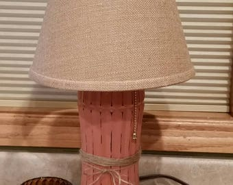 Up Cycled Lamp, Coral Lamp, Unique Lighting, Hand Painted Table Lamp,