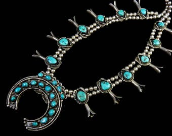 220g Vintage Navajo Sterling Silver Squash Blossom Necklace w BREATHTAKING High Grade Kingman Turquoise! Stamped Fluted Silver Petals!