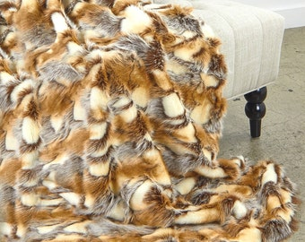 Luxurious Arctic Fox Faux Fur Throw Blanket  - Brown and Ivory Patch Rabbit - Silky Soft Minky Cuddle Fur Back - Fur Accents Designs USA