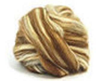 Light Brown Alpaca with Tussah Silk (50/50) Roving / Combed Top / Wool Braid - 4 ounces