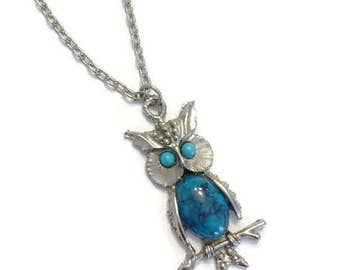 Vintage 1970s Necklace, Boho Owl Pendant Necklace, Silver Tone and Faux Turquoise Pendant, Costume Jewelry