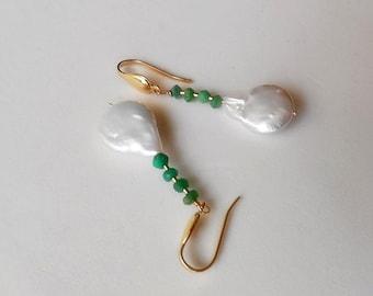 Pearl pear earrings, Chrysoprase earrings with 14K Gold Filled