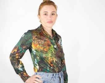 70s Vintage Jungle Print Top   AMAZING Abstract Button-down Blouse   1970s Hippie Disco   Size Small