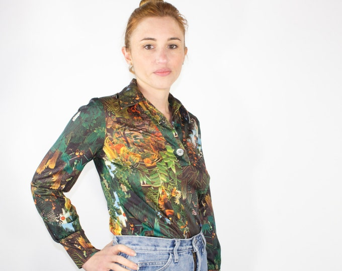 70s Vintage Jungle Print Top | AMAZING Abstract Button-down Blouse | 1970s Hippie Disco | Size Small