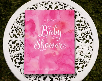 Baby Shower Guest Book, Pink Baby Shower Guestbook, Baby Shower Sign In Book, Advice for Mommy To Be, 5 x 7 inches, 8 x 10 inches, BBS 001