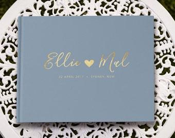 Wedding Guest Book, Wedding Guestbook, Gold Foil Guest Book, Dusty Blue Unique Wedding Guestbooks, GB 109
