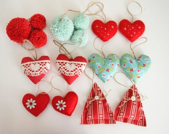 Set of Red and aquamarine-16 Christmas decorations Christmas tree Ornaments-hearts, trees and Pompoms for Christmas-Nordic Christmas