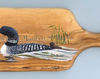 HAND PAINTED WOOD  board; small board made of acacia, 4 x 9.50 inches, wall art, original art, one of a kind, loon and young
