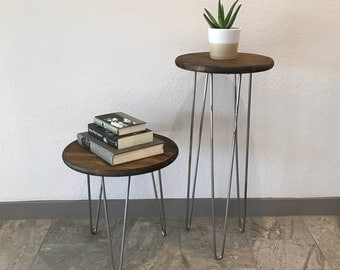 Round Wood End Table, Side Table, Nightstand, Industrial, Rustic, Stool, Hairpin Legs, Entry, Hallway