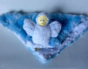 Minky security blanket, Snuggle angel blanket,Mini Security Blanket ,  Angel  Lovey, mini blanket, Ready to ship