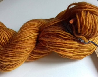 Cowardly Lion. 60g of naturally hand dyed DK weight yarn