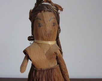 Antique Primitive Ethnic Doll, Husk, Bark, Grass, Vintage Folk Art Toy, Souvenir, Fiber, Leaves, Island Culture, World, Ethnic Souvenir Doll