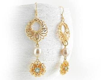 Long Floral Pearl Earrings With Crystals Bridal Earrings Wedding Jewelry Pearl Dangle Earrings Gold Floral Earrings With Pearls and Crystals