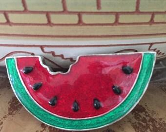 Watermelon Brooch / Sterling Silver Watermelon Pendant