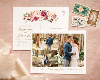 Vintage Save the Date Postcards for Boho Chic Wedding