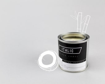 14 // Castaway - Half Pint (8oz) Scented Soy Candle in Paint Can (Coconut, Driftwood, and Bamboo)