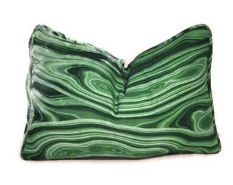 Green Lumbar Pillow Cover-Robert Allen Malakos Malachite Pillow-Emerald Green Pillow-Green Agate Pillow