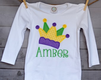 Personalized Mardi Gras Jester Hat Crown Applique Shirt or Onesie Girl or Boy