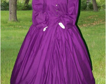 Union Bound Civil War Reenactment Victorian Day Gown Prairie Nurse Dress Set Mercy Street Ladies or Plus 8 10 12 14 16 18 20 22 24 26