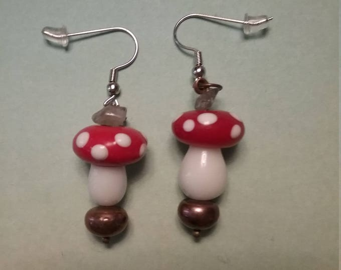 Super Mario Inspired Mushroom Earrings Custom Nickle Free Findings Ceramic Mushrooms Brown Button Pearls Labradorite Chips
