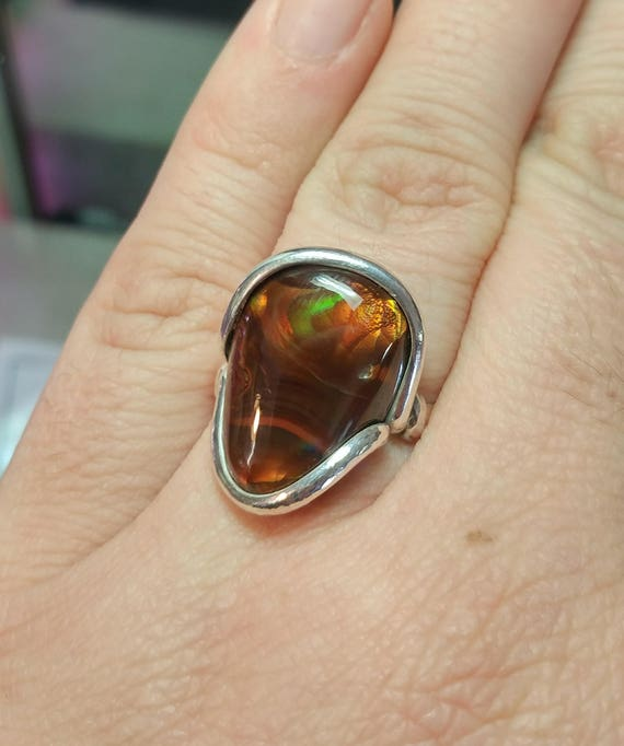 Rainbow Stone Ring | Mexican Fire Agate Ring | Sterling Silver Ring Sz 7.5 | Fire Agate Jewelry | Rare Gemstone Ring | Gift for Rainbow Mom