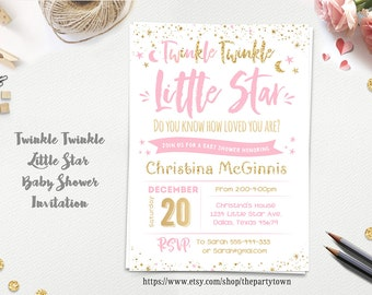 Twinkle Twinkle Little Star Baby Shower invitation, Pink and gold  invite, Gold Glitter, Baby Girl, Printable Invitation