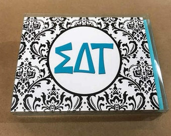 Sigma Delta Tau Damask Notecards