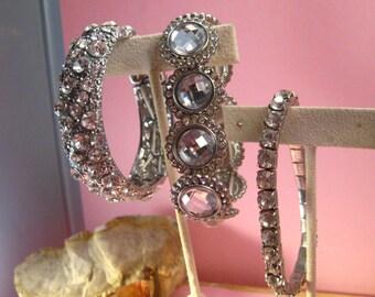 Glass Rhinestone Crystal Vintage Stretch Bracelet Trio Lot #A-4