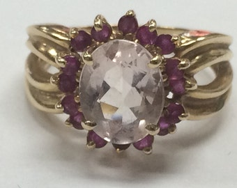 STUNNING 14K Yellow Gold Pink Sapphire and Ruby Ring Size 8!