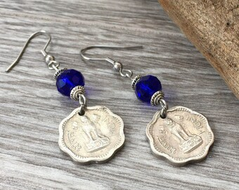 1963 coin earrings, 2 paise from India, 54th birthday gift, Ashok-Stambha Ashoka's Pillar, boho jewelry, cobalt blue hippie present for her