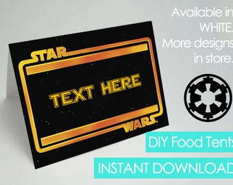 Star Wars Food Tents, Editable, Printable Star Wars Party Food Tents, Star Wars Food Label, Star Wars Food Tag, Star Wars Decoration Ideas