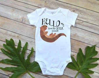 Funny Baby Gift, Hello from the Otter Side, Aunt Baby Gift, Funny Baby shirt, Nephew Gift,Niece Gift, Cool Aunt, Adele Baby shirt,Cute gift