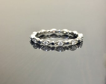 18K White Gold Eternity Sapphire Diamond Engagement Band - 18K Gold Diamond Wedding Band - Diamond Sapphire Band - Diamond Eternity Band