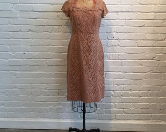 1960s Beige Lace Wiggle Dress // 60s Lace Tulle Peachy Beige Dress // Vintage 1960s Lace Dress