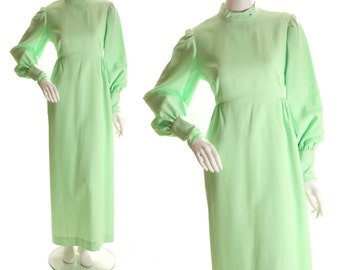 1970s Pistachio Green Polyester Victorian Style High Neck Long Sleeved Full Length Dress-L