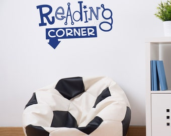 Kids Room Wall Decal, Reading Corner Decal, Kids Reading Corner, Reading Theme Wall Decal, Reading Area Decal