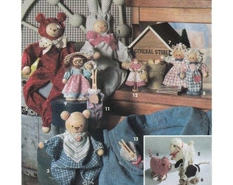 Clothespin Dolls, Bears, Spool Dolls and Toys, Christmas Ornaments, Country Decor Sewing Pattern Simplicity Crafts 8098