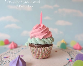 Fake Cupcake Handmade Happy Pink Aqua with Candle