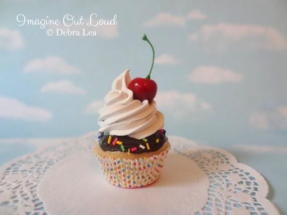 Fake Cupcake Vanilla Chocolate Sprinkles Sundae