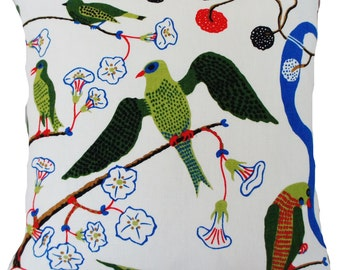 Josef Frank Fabric Cushion Cover Green Birds  Linen Printed Floral Fabric