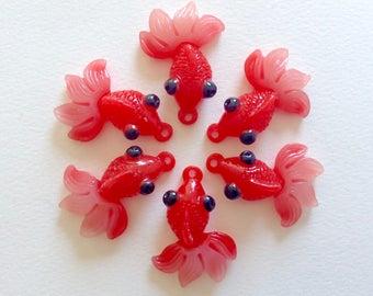 6 pcs - Red Goldfish or Koi Fish Resin Charms Pendants - 43mm - Pond - DIY - Jewelry