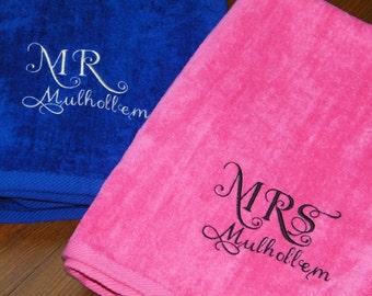 Personalized MR. & MRS. Plush Beach Towels Wedding Gift/Honeymoon/Anniversary