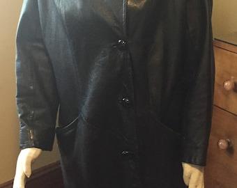 Vintage 1960's Classic Supple Black Leather Car Coat Dolman Sleeves Beatnik Chic L-XL!
