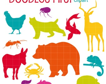 Colorful Animal Silhouettes SET 5 Digital Clip Art for Scrapbooking Card Making Cupcake Toppers Paper Crafts